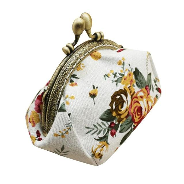 Naivety Coin Purse Women Lady Retro Vintage Flower Small Wallet Hasp Printing Floral Clutch Bag Good Gift JUL28 drop shipping 3