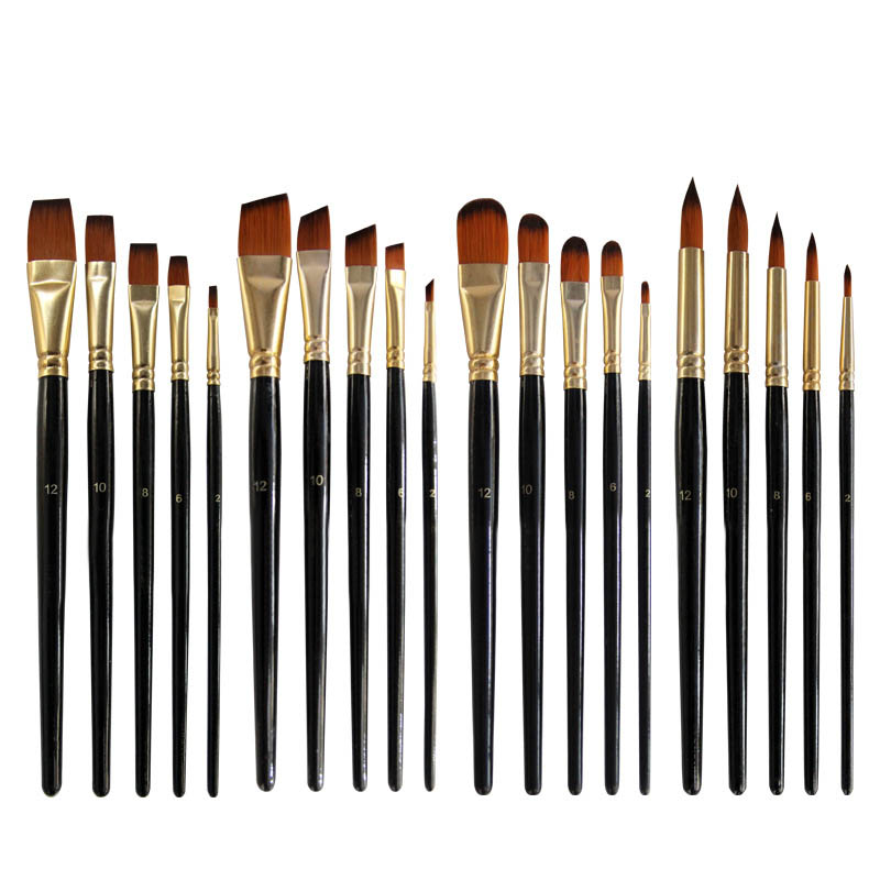 Artist Wood Handle Paint Brush Set Eco-friendly Watercolor Acrylic Oil Painting Pen Portable Nylon Hair Painting Brush