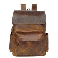Brand Designer Men Genuine Leather Backpack Crazy Horse Vintage Daypack Multi Pocket Casual Rucksack Vintage Handmade Tote Bolsa