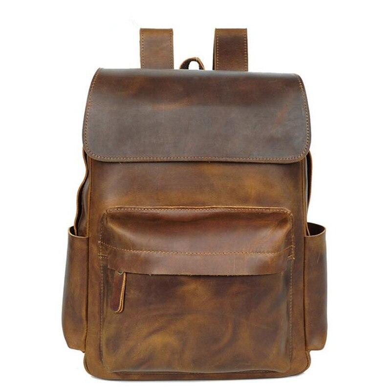 Men Fashion Backpack Crazy horse Leather Bag Men Travel Backpacks School For Teenage Laptop Bags Male Genuine Leather Backpack new fashion backpack women backpacks men s travel bags casual backpack men laptop backpacks luxury designer men s school bag