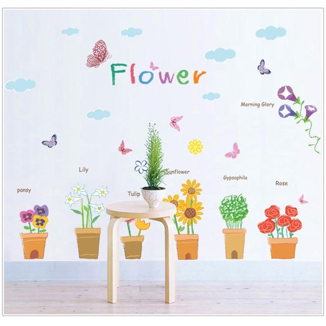 Aliexpresscom Buy Girls Flower Pots Wall Stickers Grass Plants - Girls flower bedroom wallpaper