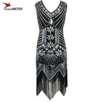 European 1920s Vintage Beaded Sequin Tassel Dress Elegant Women V Neck Flapper Dress Vestido De Festa