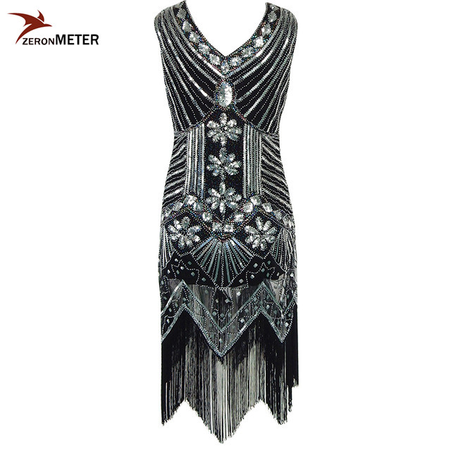 European s Vintage Beaded Sequin Tassel Dress Elegant Women V neck Flapper