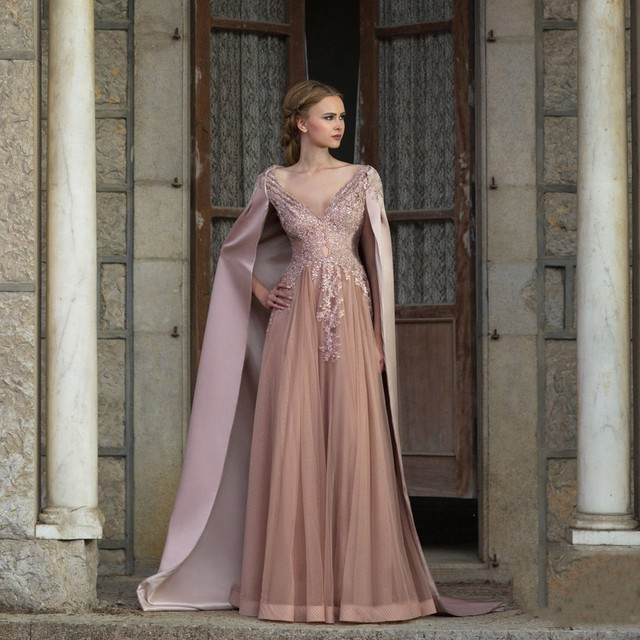 ddcc32e262 US $163.59 |Model Saudi Arabia Pink Evening Dresses 2017 With Cape Lace  Tulle Long Evening Gowns Middle East Abiye Party Dress Vestido Longo-in ...