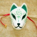 Full Face Hand-Painted Japanese Fox Mask Kitsune Cosplay Masquerade Green Color for Party Carnival Halloween