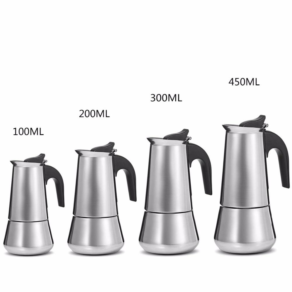 Stainless Steel Moka Coffee Pot Stovetop Espresso Maker Latte Filter Percolator Tools Cafetiere Mocha