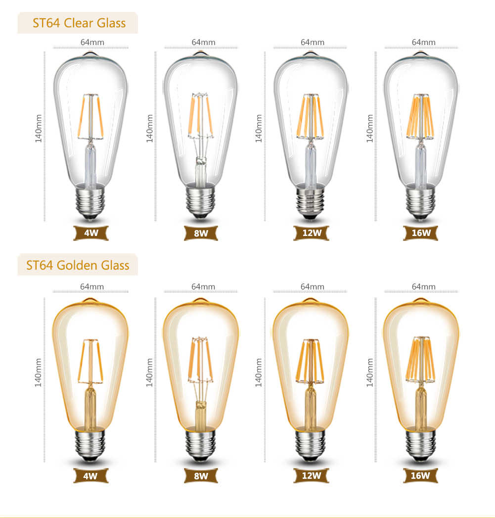 العتيقة ST64 LED E27 لمبة مصباح من طراز قديم 110 فولت 220 فولت 4 واط 8 واط 12 واط 16 واط LED خيوط ضوء E27 الزجاج الذهب Bombillas LED لمبة اديسون ضوء