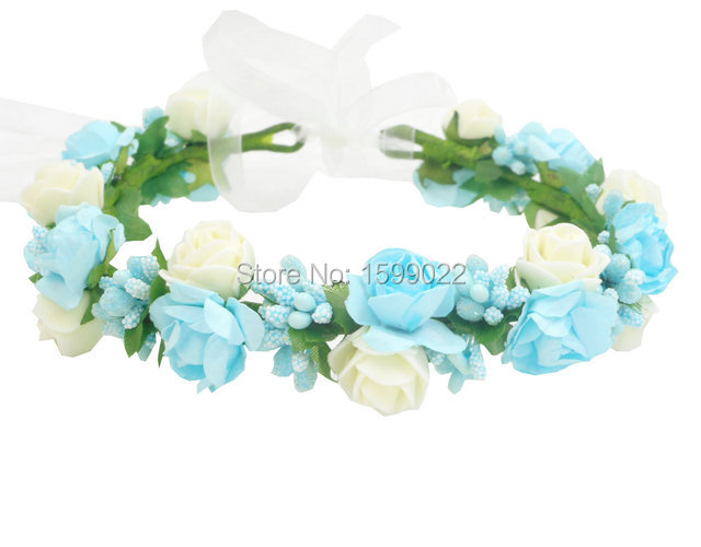 Light Blue Flower Crown Bohemian Girls Dress Headband Winter Wedding Floral Hair Garlands Handmade Bridal Bridesmaid Headpieces