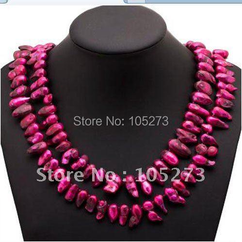 Потрясающее! Жемчужное ожерелье АА 14-19 мм красный цвет подлинный пресноводный жемчуг барокко формирователь 48 дюймов длинное ожерелье NF119