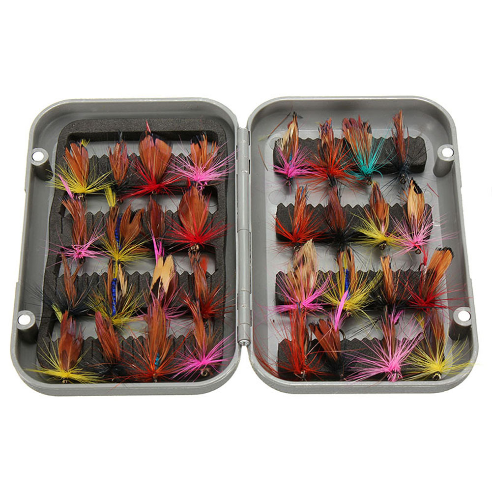 32pcs Fly Fishing Lure Set Artificial Insect Bait Trout Fly Fishing Hooks Tackle with Case Box Butterfly Insect Pesca Wholesale portable 2 layers many compartments visible pvc fishing lure bait hooks fish tackle box accessory storage box case fishing tool