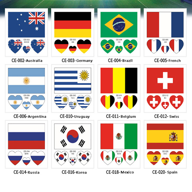2018 Russia World Cup Tattoo Waterproof Stickers