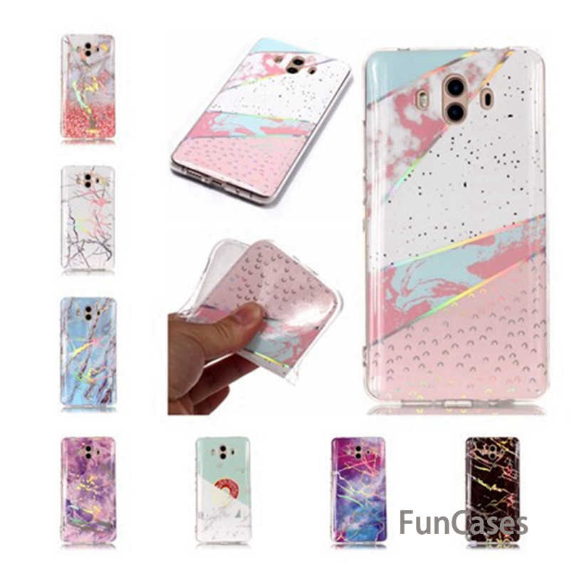 Case For Huawei P Smart Honor 7C 7X Case Soft Mate RS Mate 9 10 Lite Pro Silicone Case Laser Shiny Marble Phone Shell Huawi