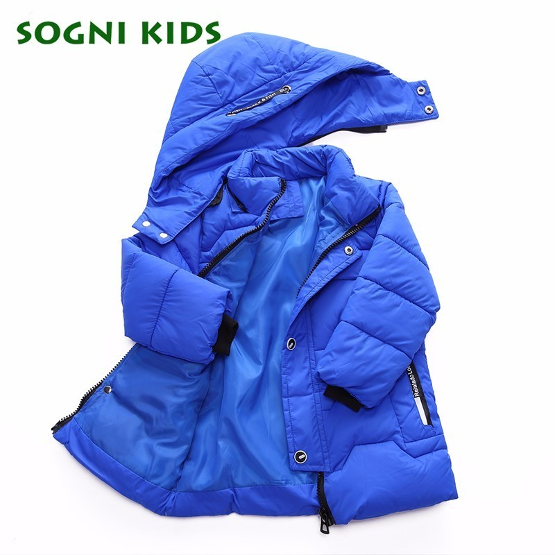 SOGNI KIDS Baby Boys Coats Winter Outwear 2017 Children Cotton Hooded Long Sleeve Casual Style Girls Clothes Warm Jacket children winter coats jacket baby boys warm outerwear thickening outdoors kids snow proof coat parkas cotton padded clothes