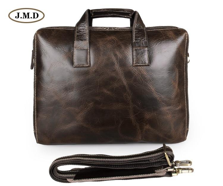 Augus New Arrivals Genuine Cow Leather Coffee Color  Men's Briefcase Double Zip Briefcase Laptop Bag Handbag 7167C-1