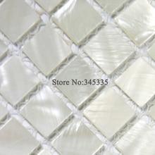 Hot sale White square shell mosaic tile mother of pearl kitchen backsplash wallpaper shower background bathroom deco wall tiles
