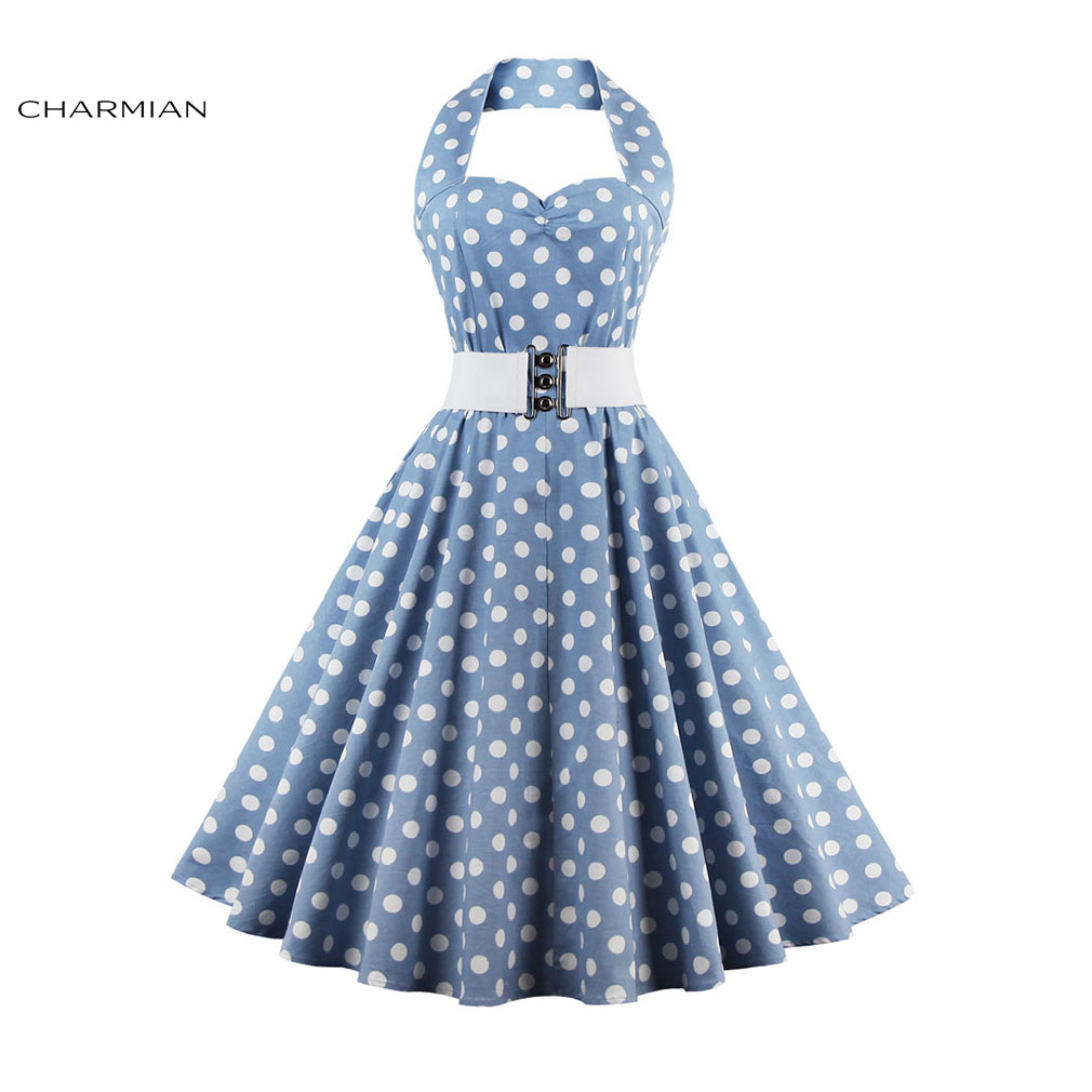 Blue christmas dress 4t - Charmian Women S Halter Vintage Dress Plus Size Polka Dot Belted Sexy Christmas Dress Party Casual Swing