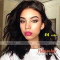 Corto ondulado pelucas sintéticas peluca del frente del cordón para las mujeres negras moda #4 de color/color negro bob glueless pelucas a prueba de calor pelo