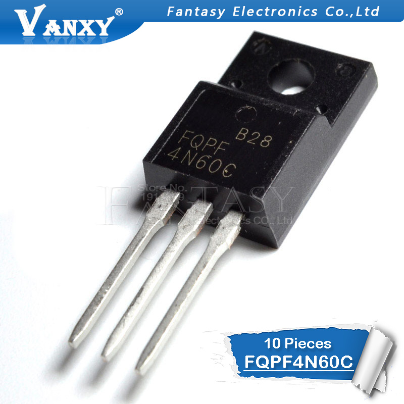 10PCS FQPF4N60C TO-220 4N60C 4N60 TO220 FQPF4N60 New MOS FET Transistor