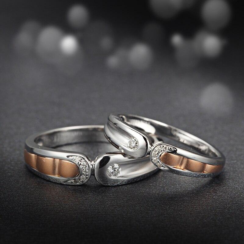 18 كيلو نغمتين الذهب الماس الطبيعي خاتم زوجين تعيين الزواج اليدوية مجوهرات الخطبة روز و الذهب الأبيض