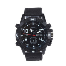 Casual Clocks Promotions Wristwatch Luxury Men's Canvas strap Large Dial Military Sport Quartz Wrist Watch High Quality Unisex