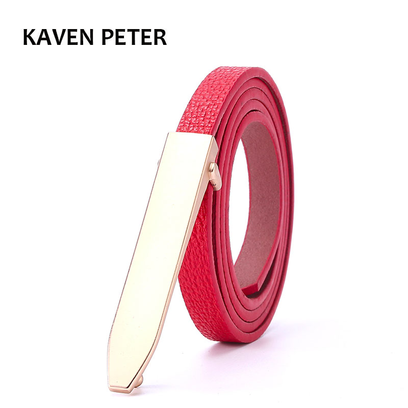 Fashion Style Women Belts Cow Genuine Leather High Grade Quality Alloy Buckle New Design Long Gold Buckle Thin Belts Four Color
