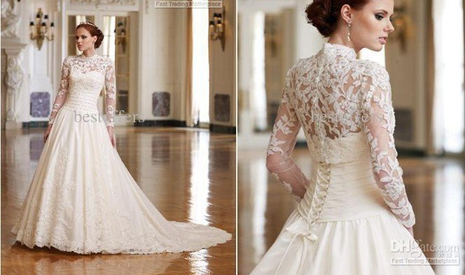 Whole Inspired By Kate Middleton Wedding Dress High Colar Lace Bodice Long Sleeves Dresses Jacket Lb1288 In From Weddings