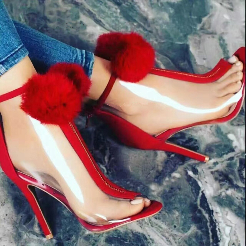 Newest Women Fashion Open Transparent Red Pom pom High Heel Sandals Girls Cute Open Toe PVC Patchwork Dress Sandals Booties open shoulder pom pom trim top