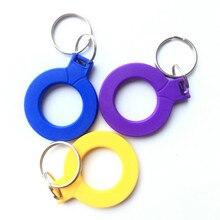 1 Uds., 125 KHZ, TK4100 EM4100, identificación de etiqueta RFID, solo lectura de llaveros, llavero con chapa, solo lectura, Amarillo/azul/violeta