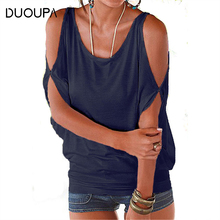 Duoupa Women Blouses 2019 Summer Casual Sexy Off Shoulder Blouse Shirt Batwing Short Sleeve Lace Up Solid O-neck Loose Tops Blus