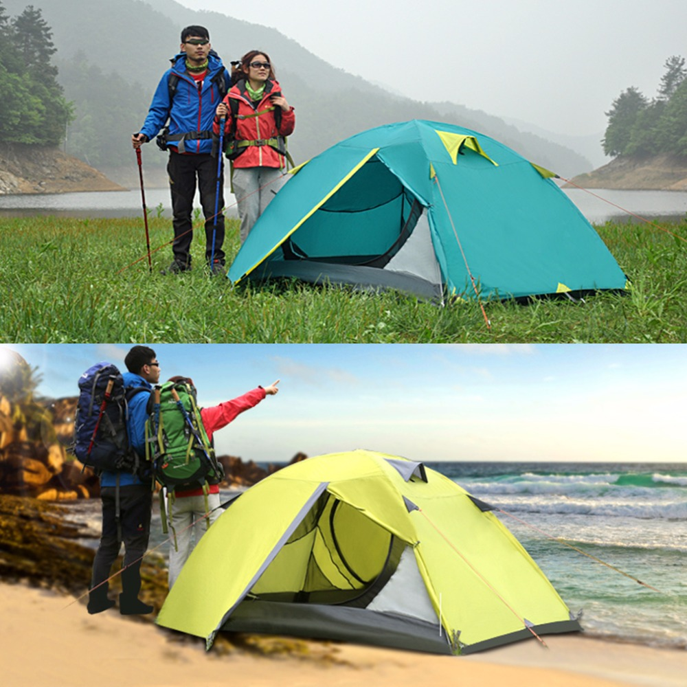 Spring Two Person Camping Tent Double Wall Extent Tent With Bag Waterproof Outdoor Hiking Travel Backpacking outdoor camping hiking automatic camping tent 4person double layer family tent sun shelter gazebo beach tent awning tourist tent
