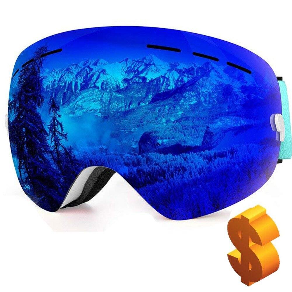 a6ecf949fcc De esquí profesional gafas de doble lente de invierno deportes de nieve  Snowboard protección UV Anti-niebla Airsoft para hombres y mujeres espejo  esférico