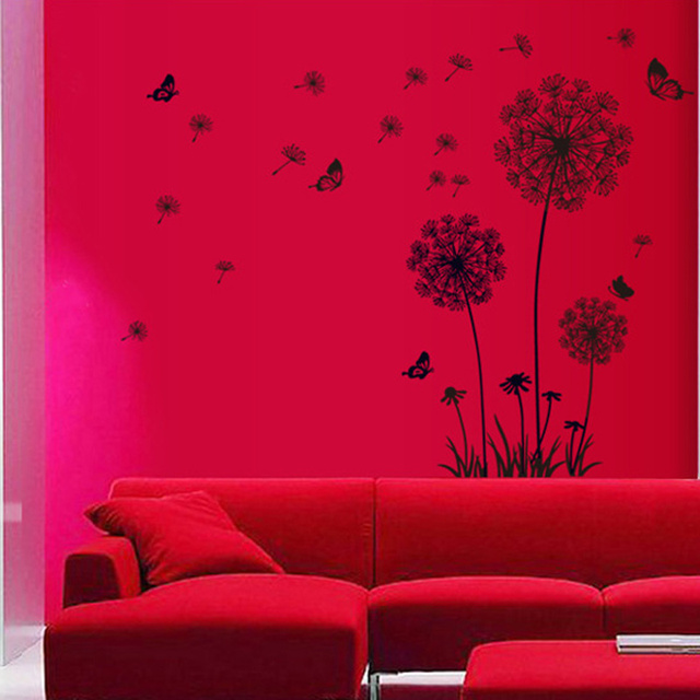 Black Dandelion & Butterfly Wall Sticker 6