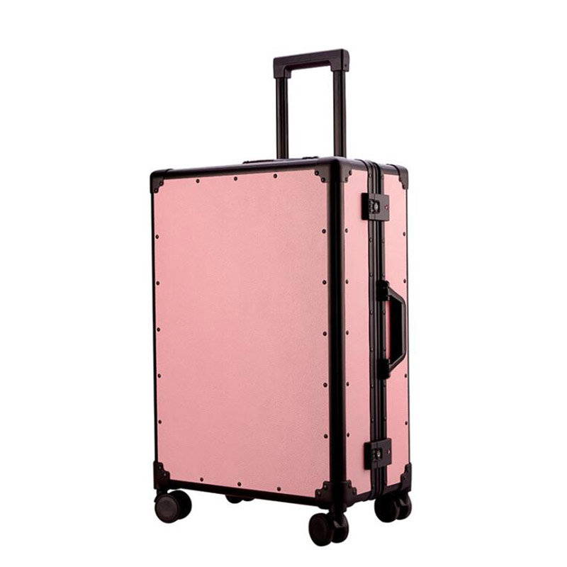 Retro Rolling Luggage Spinner Vintage Leather Travel Suitcase With Wheels Trolley Case Women Travel Bag Trunk Carry On Boarding