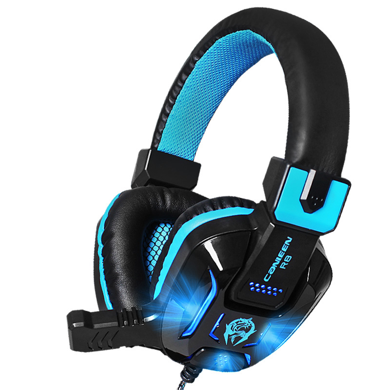 Canleen R8 Stereo Surrounded Deep Bass Gaming Headset LED Noise Canceling Headphones with Microphones Over-Ear Earphone for PC
