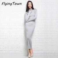 FlyingTown Women Sweater Dress Turtleneck Solid Color Long Sleeve Maxi Sheath Knitwear High Quality 2017 Winter