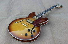High Quality low price Jazz Electric Guitar, Semi Hollow Body Archtop Guitar, thin brown burst center yellow, Wholesale