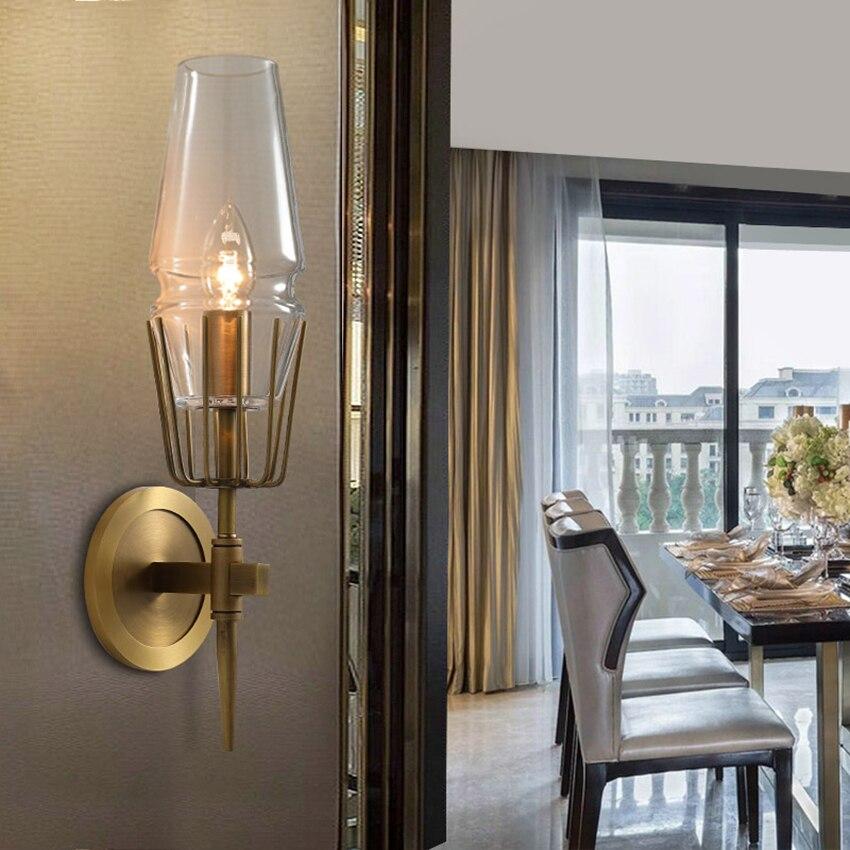 Постмодерн промышленный настенный светильник 1/2 головок стеклянный светодиодный стенное бра свет лестница ресторана прохода светильник с... - 3