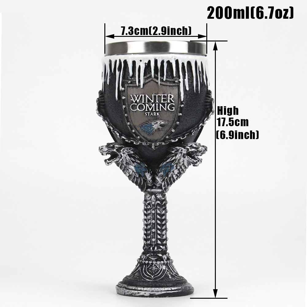 Game of Thrones Goblet Wine Glass House Stark Wolf's head Sigil Wine Glass Goblet Christmas Halloween Gift
