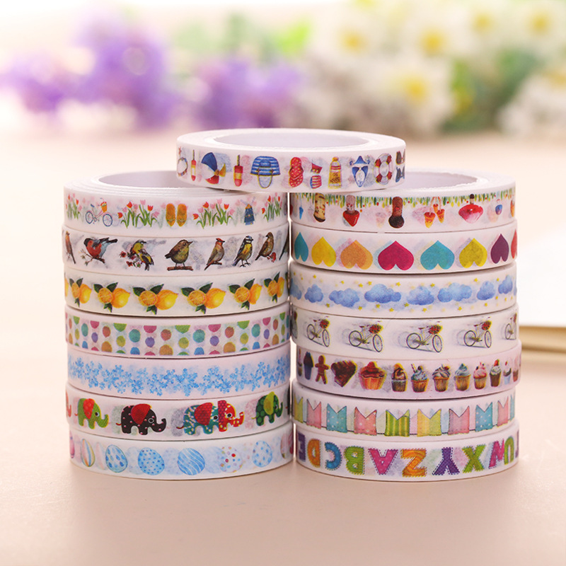 8mm Lemon Slim Washi Tape Anime Heart Flowers Scrapbooking Masking Personal Planner Decorative Tape Cute Japanese Stationery