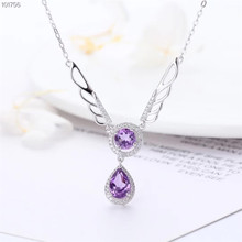 цена gemstone jewelry wholesale luxury 925 sterling silver natural purple crystal amethyst charm necklace pendant for female онлайн в 2017 году