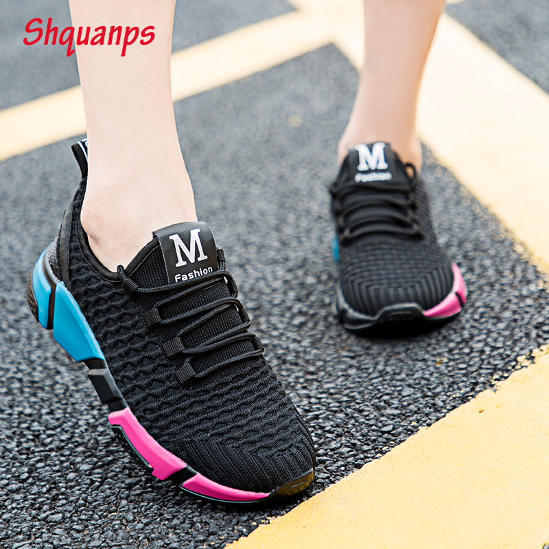 Hot Women Shoes 2019 New Mesh Sneakers Woman Breathable Lace Up Flat Shoes Soft Casual Krasovki Chaussures Femme Scarpe Donna