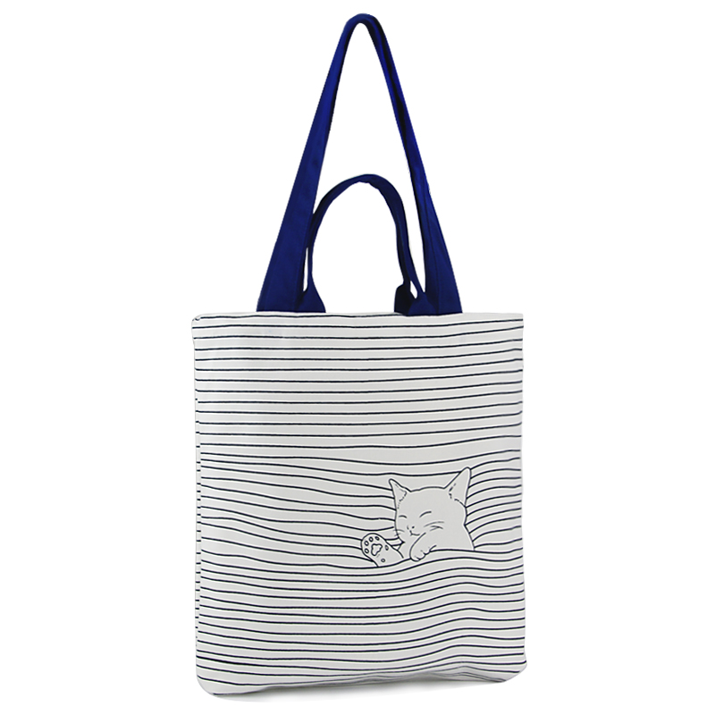cat bolsas de lona de Feature 1 : 2017 Canvas Shopping Tote Bag
