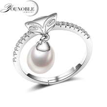925 sterling silver water drop natural freshwater pearl  ring for women fox ring adjustable white/pink/purple open rings jewelry white pink purple natural freshwater pearl wedding ring adjustable rings for wife hot sale