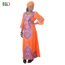 H&D 2018 New style Africa Riche Women Dresses Lace Fabric Traditional Embroidery Craft Dashiki African Dresses For Women(China)