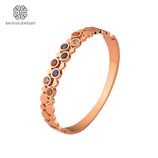 Baoyan 2016 Colorful Crystal Stainless Steel Rose Gold Plated Women Bracelet&Bangle Fashion Jewellery Flexible Never Fade N5