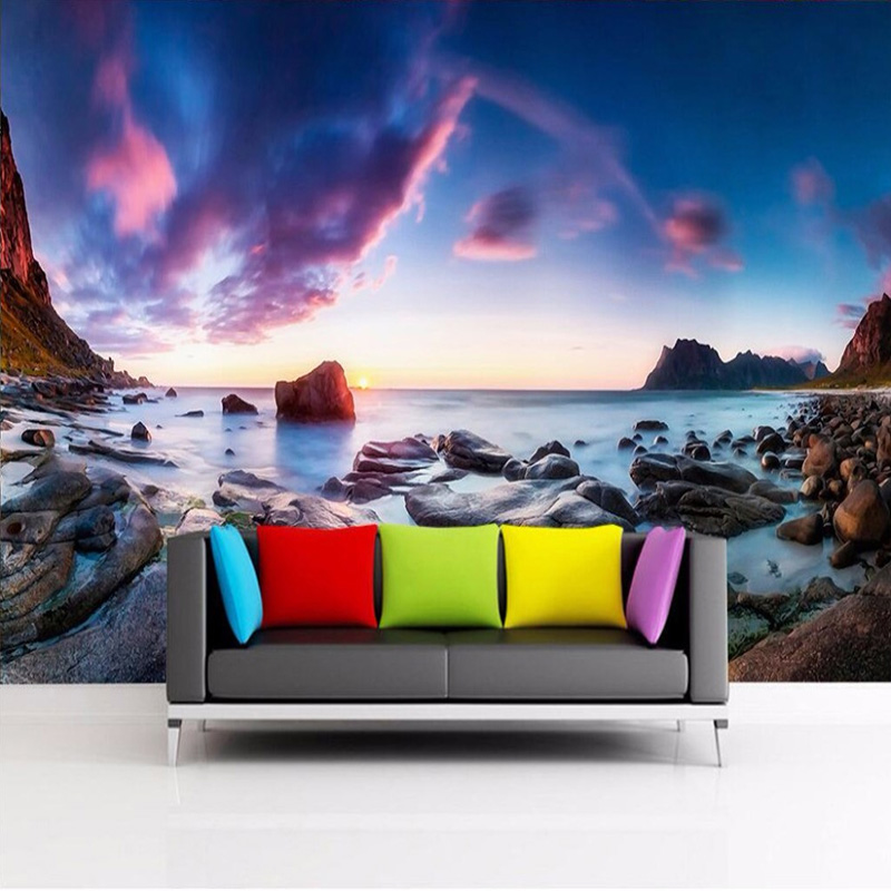 Custom 3D Mural Wallpaper Seaside Rock Photography Photo Background Large Wall Painting Living Room Sofa Wall Papers Home Decor custom photo wallpaper large mural retro old newspaper english letter bar hot pot restaurant background wall wallpaper mural