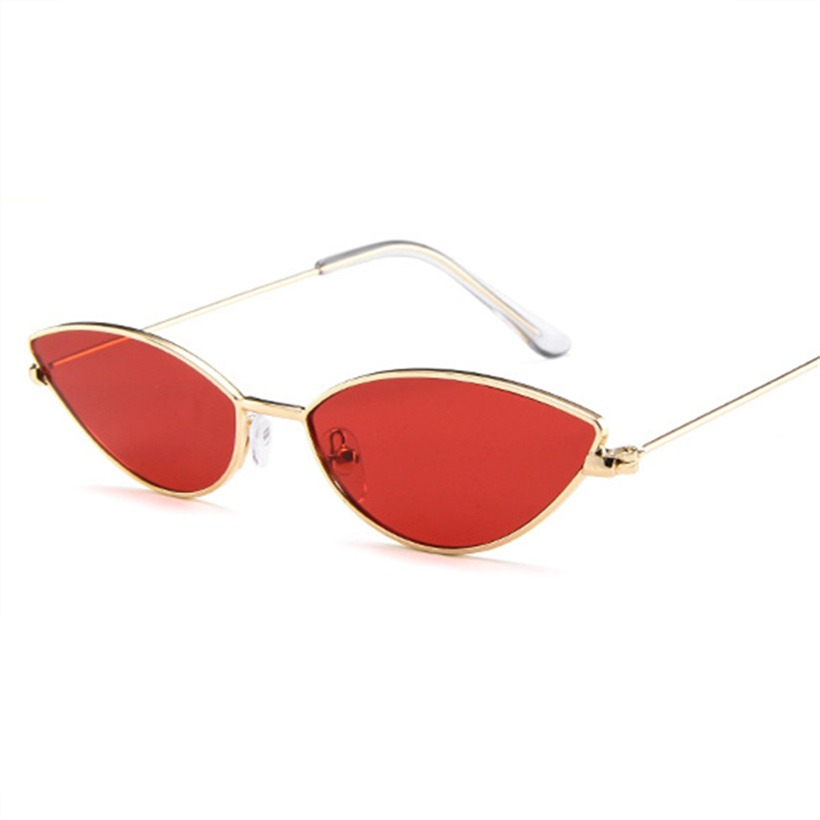 db21593457f9 Metal Frame Women Cat Eye Sunglasses Cute Sexy Brand Designer Summer Retro  Small Frame Black Red