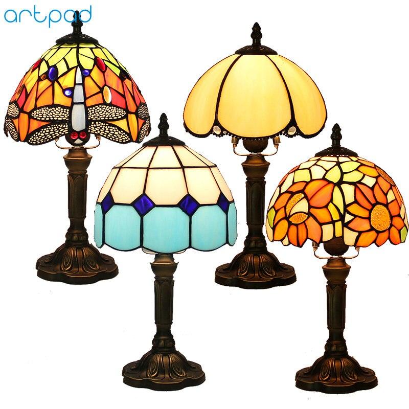Bozz'art Décor Méditerranéen Turc Mosaïque Lampes E27 Vitrail Abat-Jour Chambre De Chevet Cru Lampe de Table Luminaires