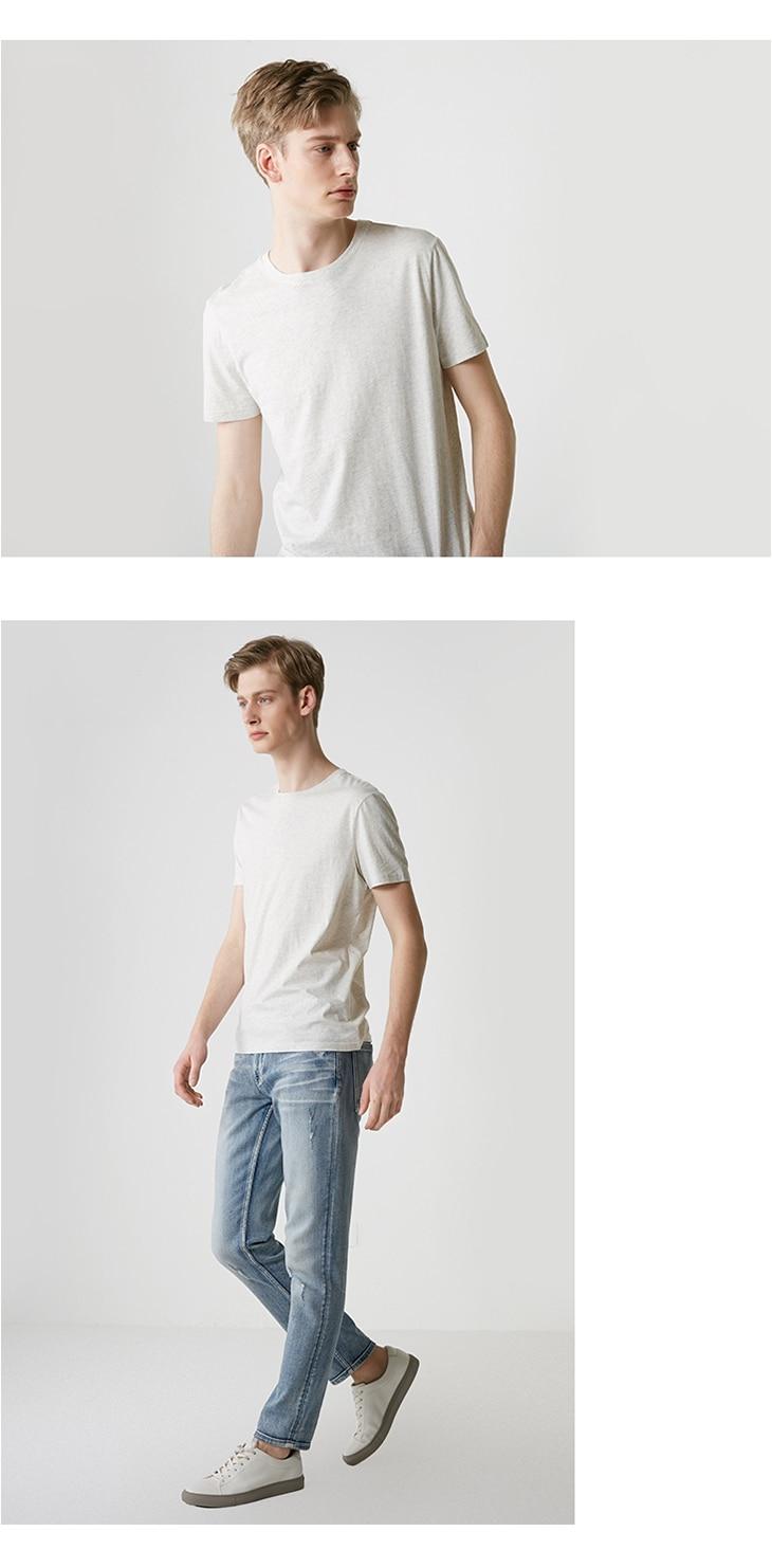 Men's Summer 100% Cotton Pure Color Round Neckline Short-sleeved T-shirt 46