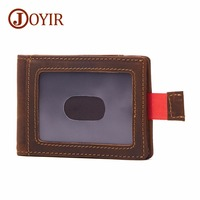 JOYIR Brand Designer Men Money Clips 100% Cow Leather Portfolio Men Wallets Open Clamp For Money Purse Card Pocket For Male